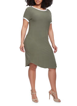 Plus Size Ringer T Shirt Dress - OLIVE - 1390061639496