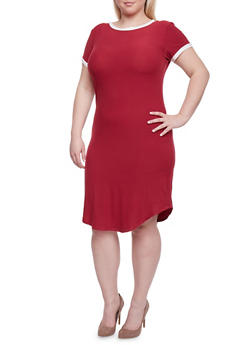 Plus Size Ringer T Shirt Dress - 1390061639496