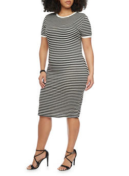 Plus Size Short Sleeve Striped Ringer T Shirt Dress - 1390061639498