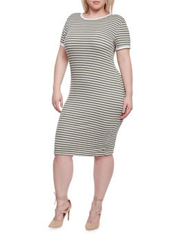 Plus Size Short Sleeve Striped Ringer T Shirt Dress - 1390061639498