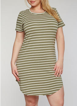 Plus Size Striped T Shirt Dress - 1390061639499