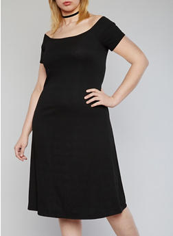 Plus Size Off the Shoulder Ribbed Midi Dress - BLACK - 1390061639501