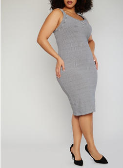 Plus Size Striped Sleeveless Dress - 1390061639502