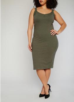 Plus Size Striped Sleeveless Dress - OLIVE - 1390061639502