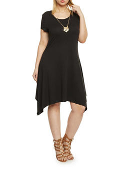 Plus Size Sharbite Hem T Shirt Dress with Necklace - BLACK - 1390061639504