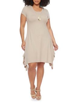Plus Size Sharbite Hem T Shirt Dress with Necklace - 1390061639504