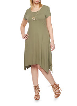 Plus Size Sharbite Hem T Shirt Dress with Necklace - 1390061639504