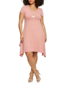 Plus Size Sharbite Hem T Shirt Dress with Necklace - ROSE - 1390061639504