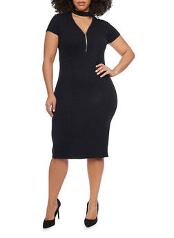 Plus Size Rib Knit Zip V Choker Neckline Midi Dress - BLACK - 1390061639506