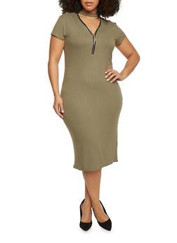 Plus Size Rib Knit Zip V Choker Neckline Midi Dress - 1390061639506