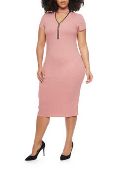Plus Size Rib Knit Zip V Choker Neckline Midi Dress - ROSE - 1390061639506