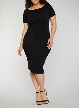 Plus Size Solid Midi T Shirt Dress - BLACK - 1390061639509