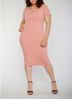 Plus Size Solid Midi T Shirt Dress - 1390061639509