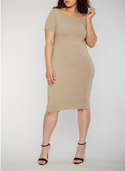 Plus Size Solid Midi T Shirt Dress - 1390061639509