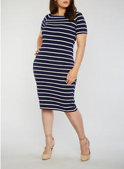Plus Size Short Sleeve Striped Bodycon Dress - 1390061639510