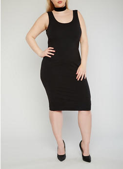 Plus Size Brushed Knit Tank Dress - BLACK - 1390061639511