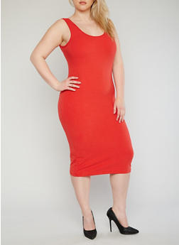 Plus Size Brushed Knit Tank Dress - 1390061639511