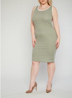Plus Size Striped Ringer Tank Dress - 1390061639513