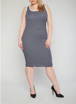Plus Size Striped Ringer Tank Dress - 1390061639513