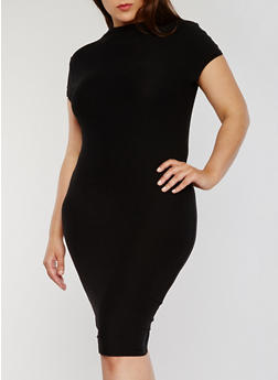 Plus Size Midi T Shirt Dress with Funnel Neck - BLACK - 1390061639514