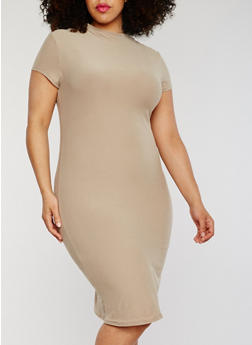 Plus Size Midi T Shirt Dress with Funnel Neck - 1390061639514