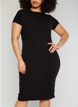 Plus Size Short Sleeve Rib Knit T Shirt Dress - BLACK - 1390061639515