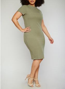 Plus Size Short Sleeve Rib Knit T Shirt Dress - OLIVE - 1390061639515