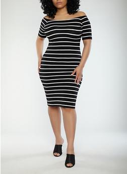 Plus Size Striped Off the Shoulder Dress - BLACK/WHITE - 1390061639562