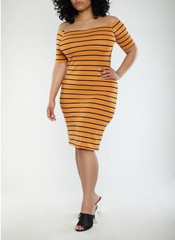 Plus Size Striped Off the Shoulder Dress - 1390061639562