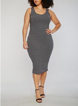 Plus Size Striped Scoop Neck Tank Dress - 1390061639575
