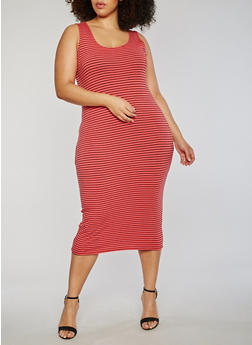 Plus Size Striped Scoop Neck Tank Dress - 1390061639575