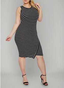 Plus Size Sleeveless Striped Tank Dress - 1390061639578