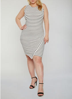 Plus Size Sleeveless Striped Tank Dress - 1390061639578