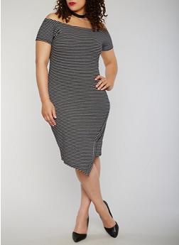 Plus Size Striped Off the Shoulder T Shirt Dress - 1390061639580