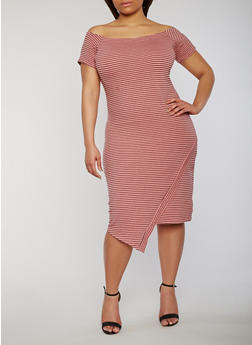 Plus Size Striped Off the Shoulder T Shirt Dress - 1390061639580