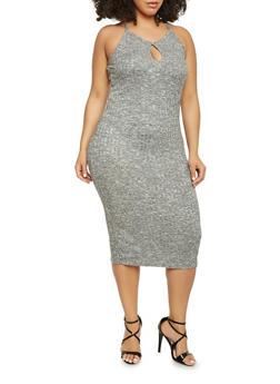 Plus Size Marled Rib Knit Midi Dress with Keyhole - 1390061639586