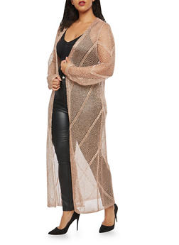 Plus Size Metallic Mesh Duster - 1390062120037