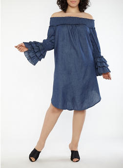 Plus Size Chambray Off the Shoulder Dress - 1390062123690