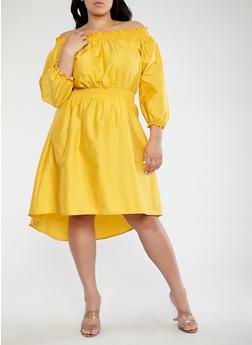 Plus Size Smocked Off the Shoulder Dress - 1390062128520