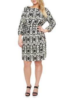 Plus Size Midi Dress With Boat Neck And Geo Print,BLACK,medium