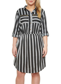 Plus Size Striped Two Pocket Shirtwaist Dress,BLACK/WHITE,medium