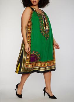 Plus Size Sleeveless Dashiki Print Shift Dress - 1390070651235