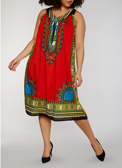Plus Size Sleeveless Dashiki Print Shift Dress - 1390070651235