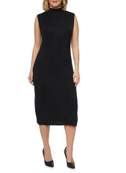 Plus Size Sleeveless Mockneck Midi Dress - BLACK - 1390073370503