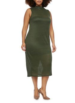 Plus Size Sleeveless Rib Knit Midi Dress - OLIVE - 1390073370504