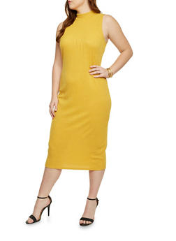 Plus Size Sleeveless Rib Knit Midi Dress - MUSTARD - 1390073370504