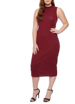 Plus Size Sleeveless Midi Dress in Ribbed Knit - BURGUNDY - 1390073370504