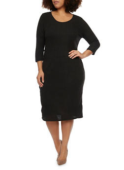Plus Size Rib Knit Midi Dress - BLACK - 1390073371501