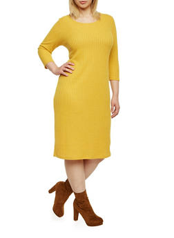 Plus Size Rib Knit Midi Dress - MUSTARD - 1390073371501