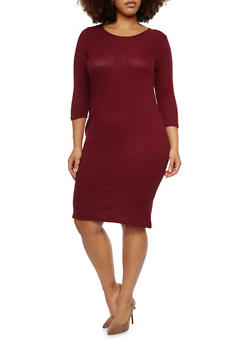 Plus Size Rib Knit Midi Dress - BURGUNDY - 1390073371501